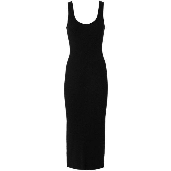 Enza Costa Women's Ribbed Tank Dress found on Polyvore featuring dresses, black, calf length dresses, scoop-neck dresses, scoop neck dress, midi tank dress and viscose dress