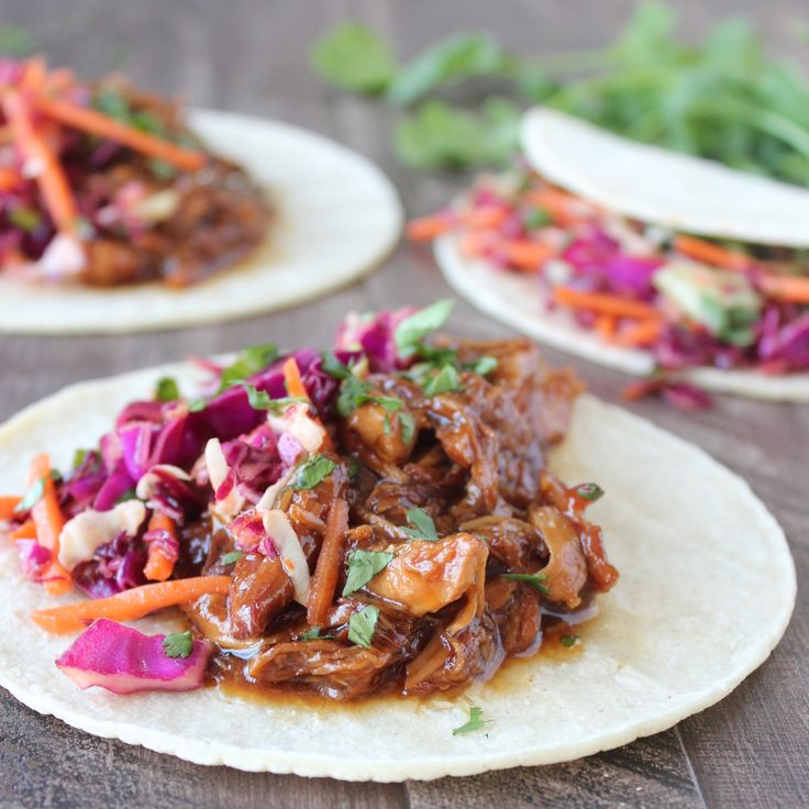 Slow Cooked Korean BBQ Chicken Tacos  Can also serve the shredded chicken and sauce over rice and veggies, etc.