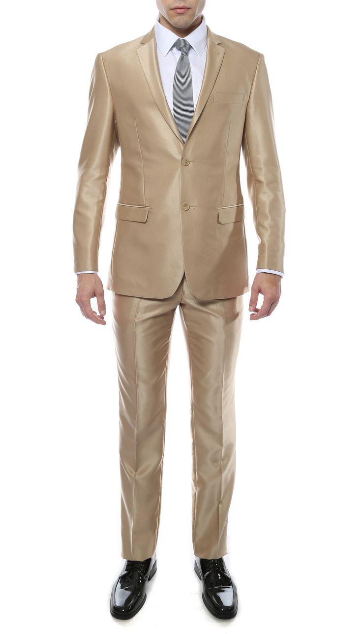 Oxford Men's Champagne Gold (Tan) 2 Button Sharkskin Slim Fit Suit - Oxford