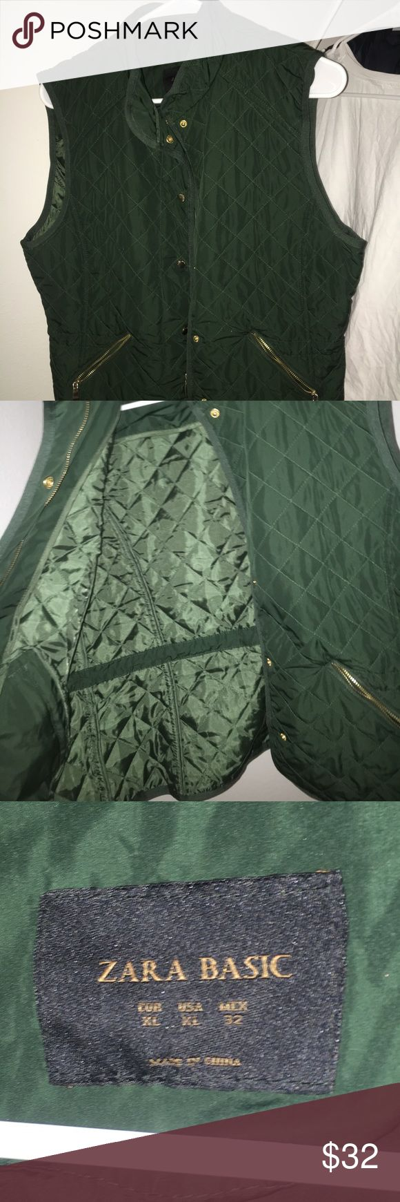 Zara army green vest Army green vests with front pockets and gold zippers Zara Jackets & Coats Vests