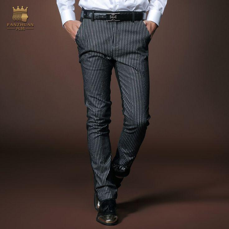 Бесплатная доставка новый мужской мода человека мужчины свободного покроя осень мужская бизнес тонкие черные полосатые брюки ноги штаны прилив 8004