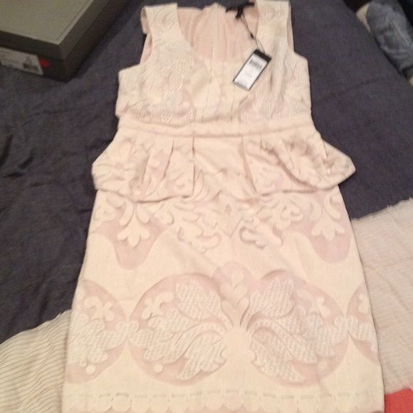 Bcbg beige cocktail dress Beige slightly peplum cocktail dress BCBGMaxAzria Dresses