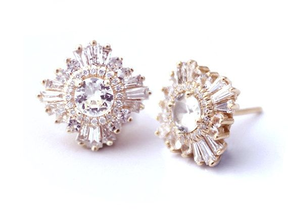 "Stunning Art Deco Earrings - ""Gatsby Petite"" - Diamonds or White Sapphires - Art Deco, Great Gatsby, custom-made, yellow, rose, white gold"