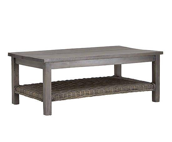 Mesa de centro de ratán y madera - natural