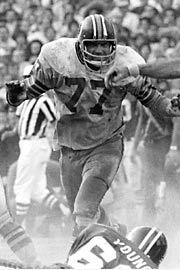 #77 Bill Brundige - Defensive End - (1970-77) - Attended the University of Colorado... Named first-team All-American in 1969... Drafted by Washington in the second round, 43rd overall pick, of the 1970 NFL draft... Played his whole career (107 games) with the Redskins... Helped lead the Redskins to the 1972 Super Bowl vs. Miami... Considers the Redskins vs. Dallas Cowboys rivalry some of his fondest memories.