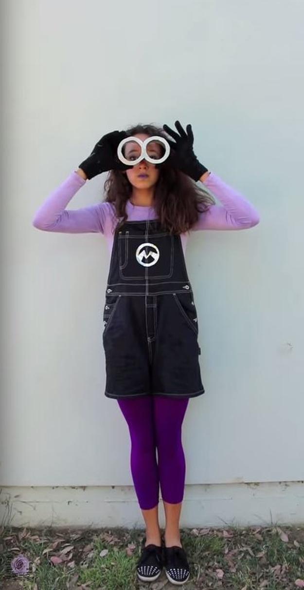 evil purple DIY Minions costume idea, see more at http://diyready/com/diy-minions-costume