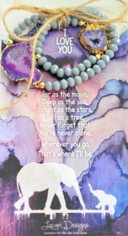Mother's Day gifts www.luciamdesigns.com Mother/Daughter Druzy bracelet set with poem