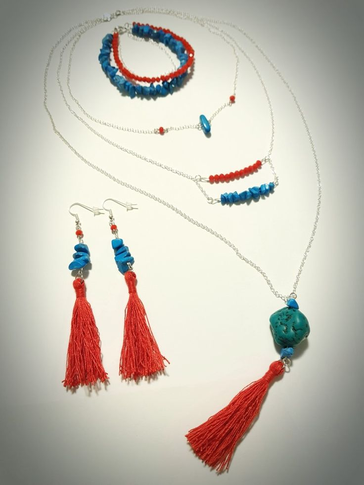 Bohemian style jewellery set of natural turquoise with tassels. Ideal for summer :-)