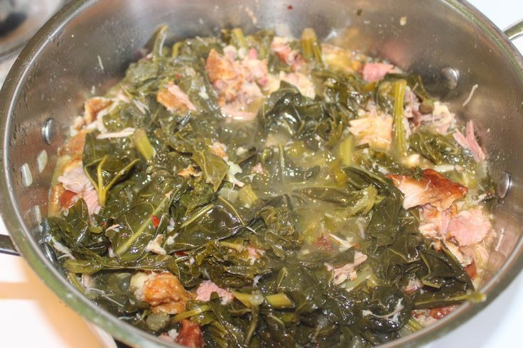 Braised Kale, Collard and Mustard Greens with Smoked Turkey