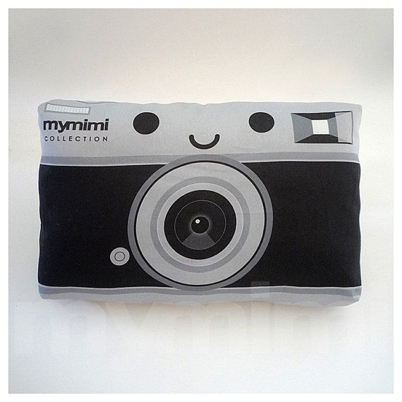 Retro Pillow Camera Pillow Black and Silver Old School by mymimi, $14.00