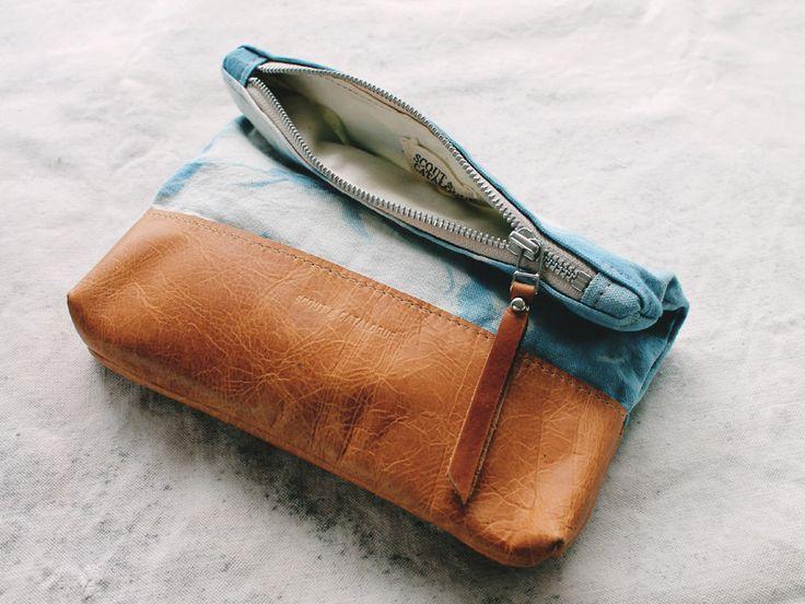 Shibori canvas and leather clutch