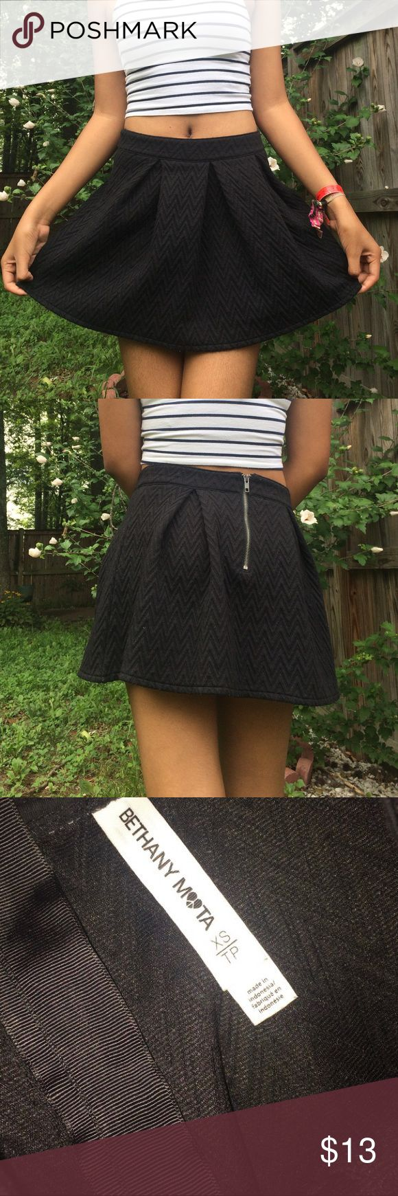 black chevron skirt originally from aeropostale. part of the bethany mota collection. 100% polyester. Aeropostale Skirts