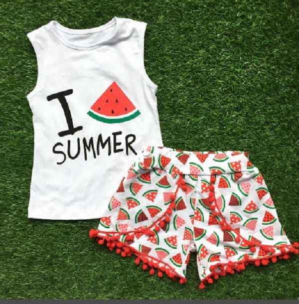 """Baby Girl Clothes, Girl Outfit, """"I Love Summer"""" Watermelon Pom Pom Shorts Set, Toddler Girl, Infant Girl, Outfits, Clothing Set, Headband by MoxieGirlBoutique on Etsy"""