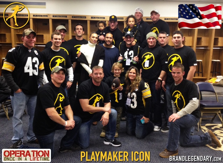Troy and Theodora Polamalu and Operation Once In a Lifetime took the time to take all 16 Special Troops into the Steelers locker room after the tough loss to the Ravens.  Despite the loss, Operation Once In a Lifetime lived up to its name by creating a Legendary experience for active service men and women.  Thank you Troy, Operation Once in a Lifetime and most of all, thank you to all 16 of the Special Troops...