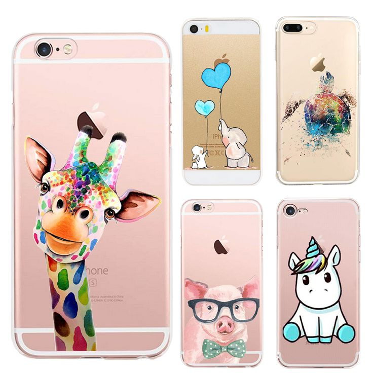 Cute Elephant Turtle Giraffe Phone Case Coque For iPhone 5 5s se 6 6s 7 7 Plus Cat Unicorn Pig Silicone Back Cover Soft Shell
