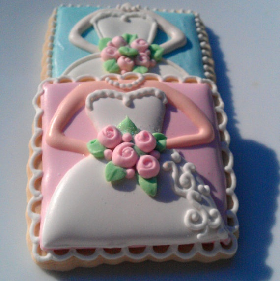 One Dozen Tiffany Decorated Sugar Cookies Wedding Dress Shower favor. $40.00, via Etsy.