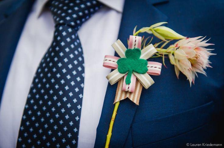 Grooms buttonhole...my Irish boy!