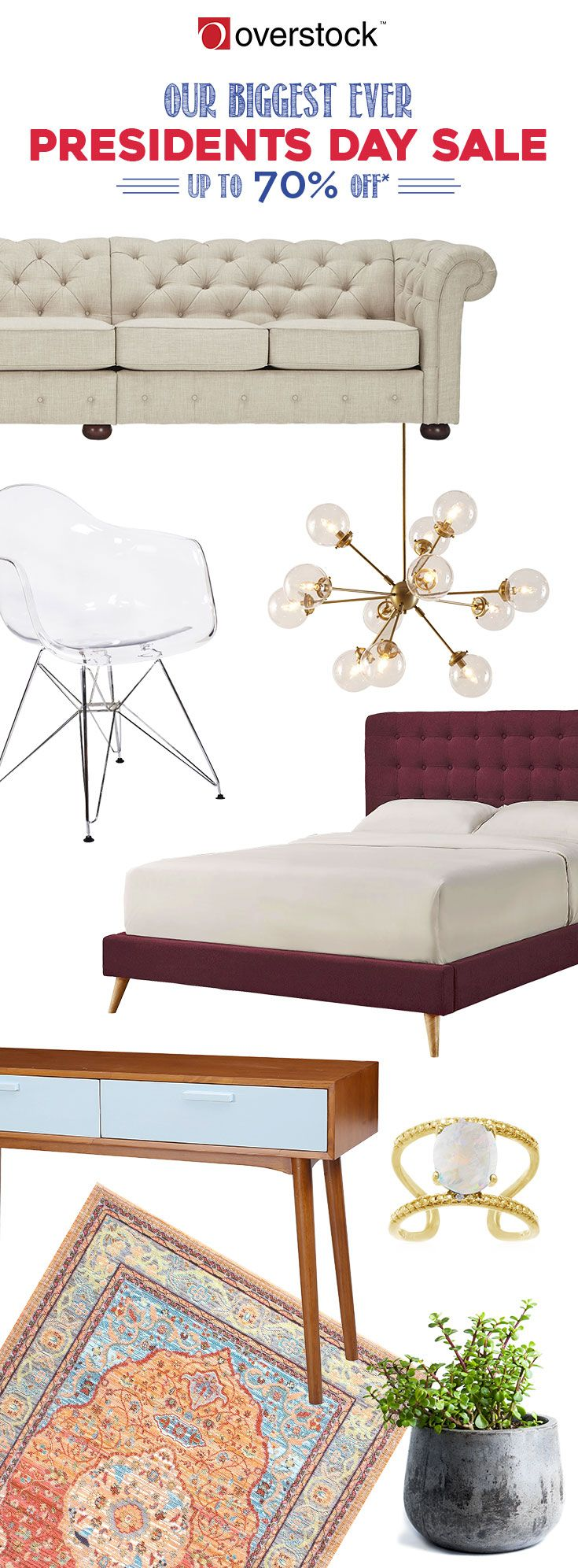 Looking for home decor at the right price? We make furniture shopping easy with our specials and sales. Overstock is dedicated to offering stylish home decor at the right price. Right now you can lock in the best deal of the year with savings up to 70% off during the Presidents' Day Sale. Hurry! Sale will end on Thursday, 2/23/17.