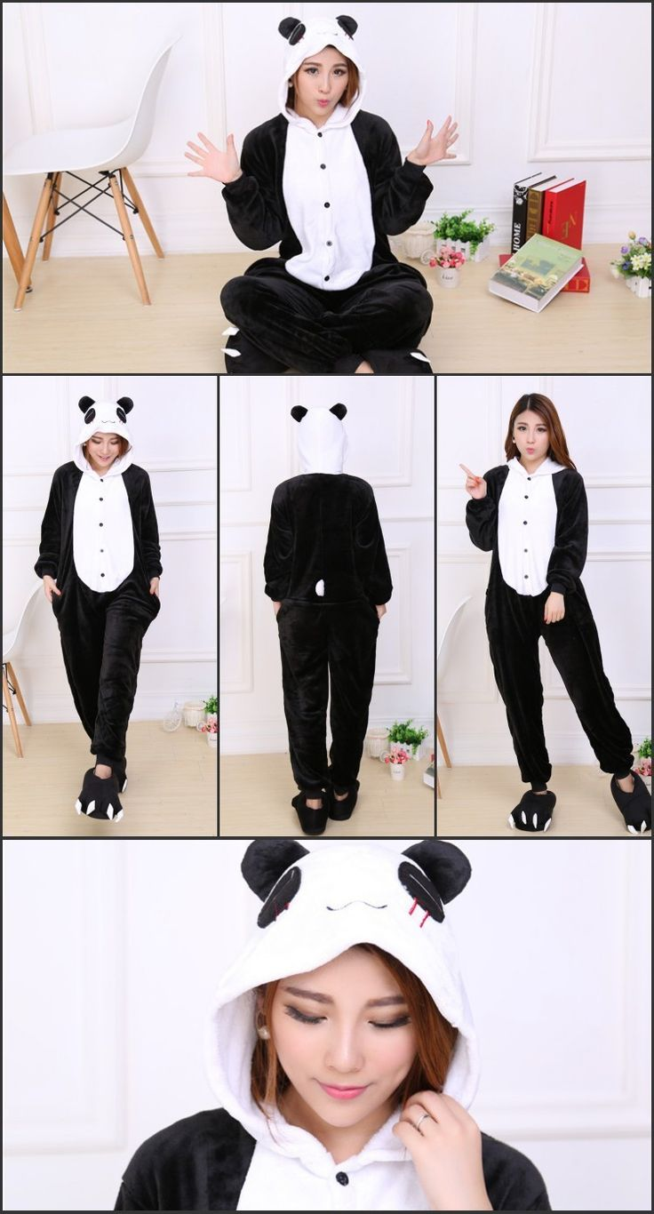 Cosplay Panda Animal Hoodie Pajamas Adult Unisex halloween costumes