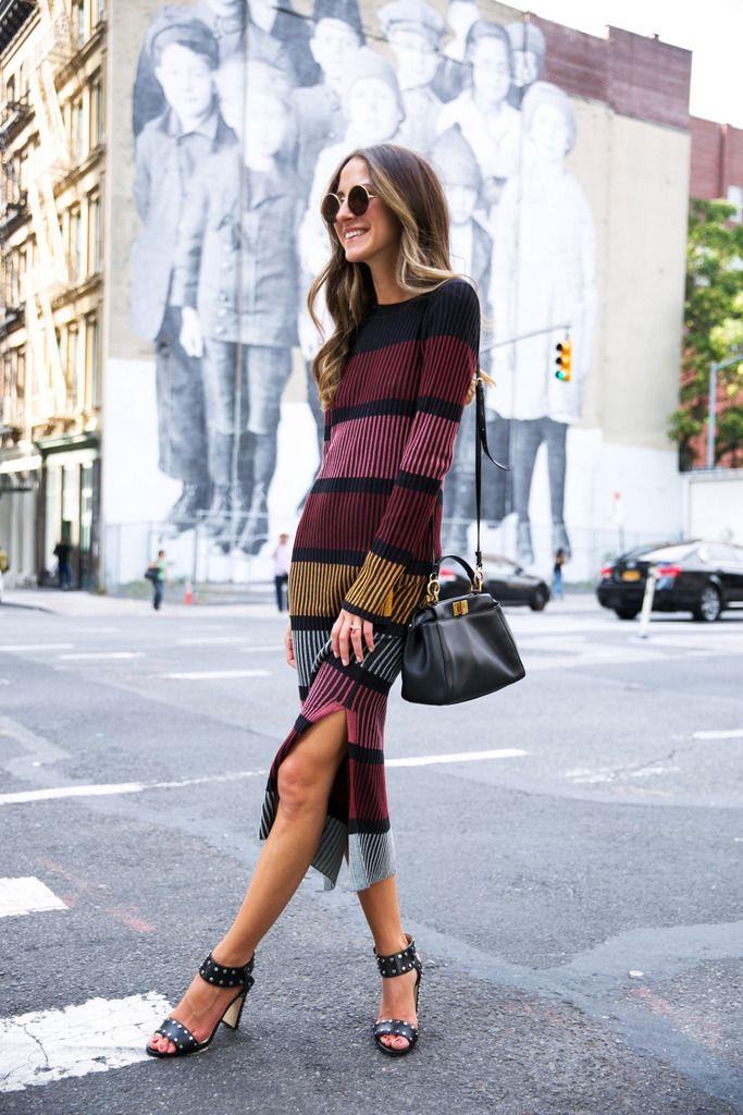 Friday Fall Stripes - Dress: H&M, Sunnies: Sunday Somewhere, Shoes: Jimmy Choo, Bag: Fendi September 2, 2016