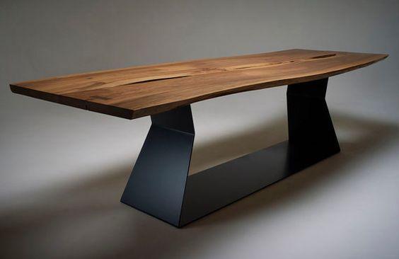 Parallelogram Live Edge Table   7.75ft Solid Exotic Hardwood   Black Base