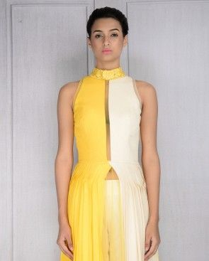 Sunflower Yellow and Ivory Pleated Dress with Pants