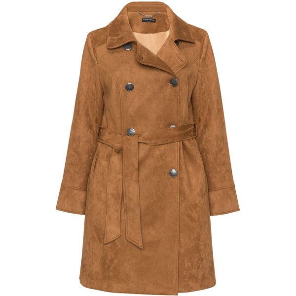 Manon Baptiste Camel Plus Size Faux suede trench coat ($260) ❤ liked on Polyvore featuring outerwear, coats, camel, plus size, plus size double breasted coat, double-breasted trench coat, lapel coat, fur-lined coats and double breasted coat