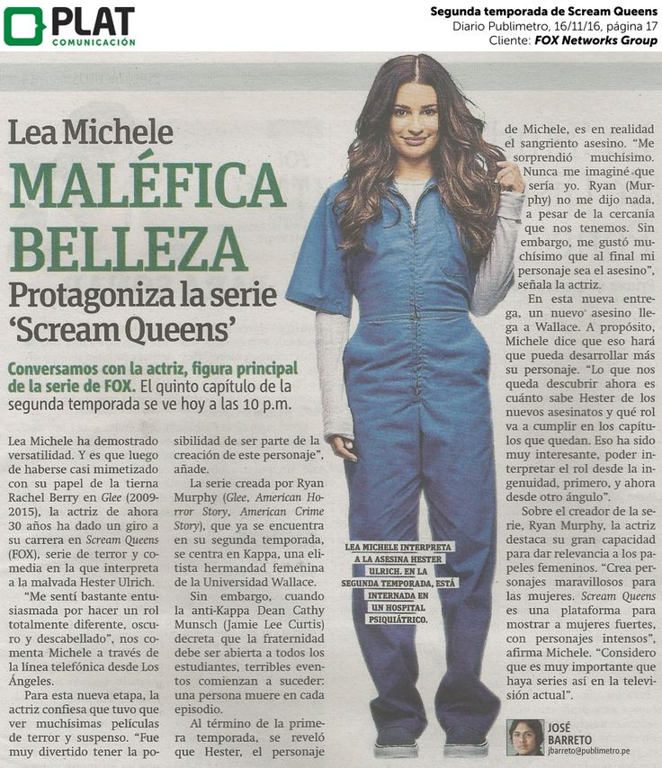 FOX Networks Group: Segunda temporada de Scream Queens en el diario Publimetro de Perú (16/11/16)