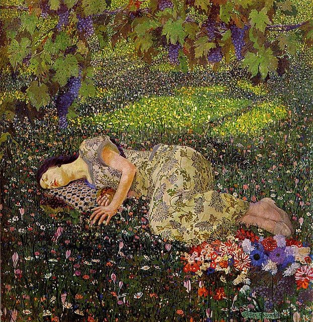 ⊰ Posing with Posies ⊱ paintings of women and flowers - Felice Casorati ~ Dreaming of Pomegranates ~ (1912)