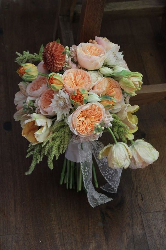 Cabbage rose bouquet | feminine cabbage rose bouquet with lace trim by rhea