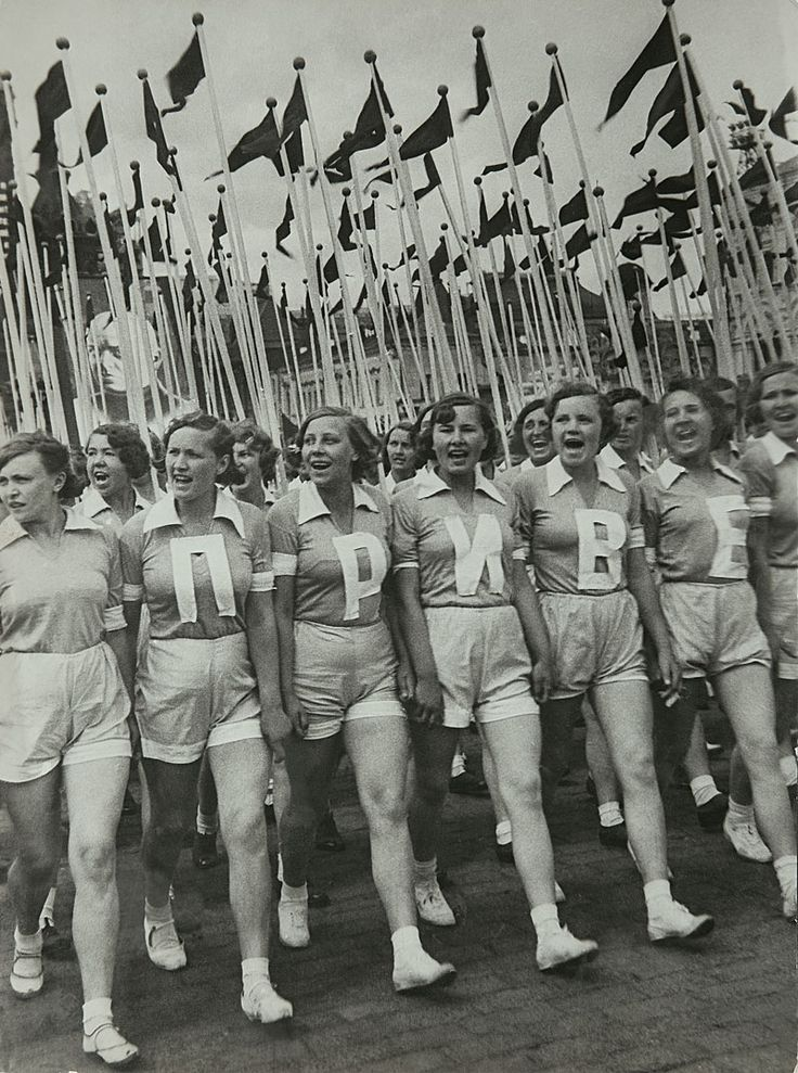 "Sports parade on Red Square, 1936 || Привет means ""Hello!"""