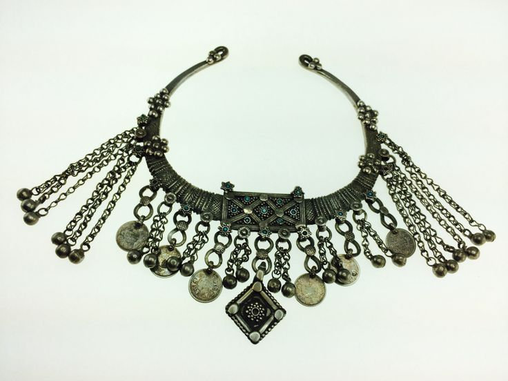 Amazing tribal collar. Silver with turquoise detail.