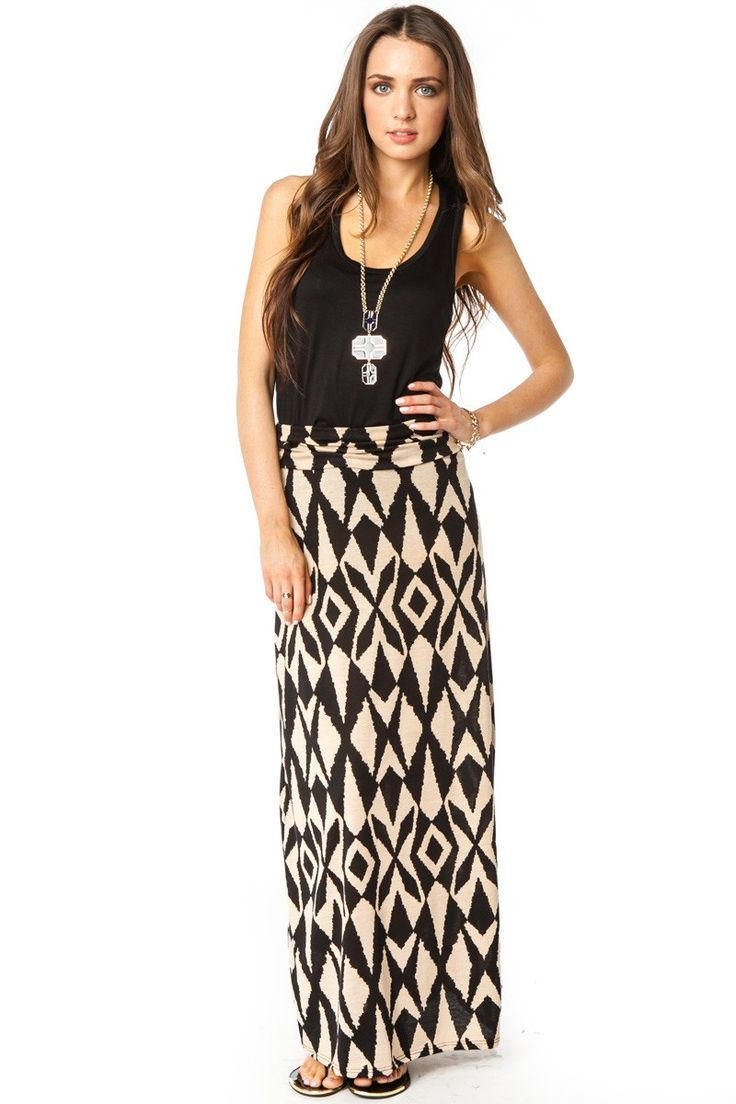 Tackle spring fashion trends handily with this ikat print maxi length - Cream Black Print Maxi Skirt Black Tank Top