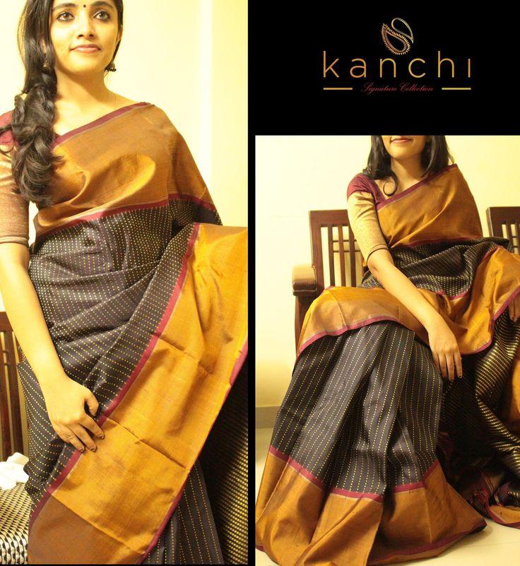 Beautiful black kanchipuram saree