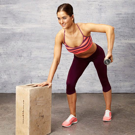 Work your back and deltoids (that rounded contour of your shoulder) with the Three-Point Row exercise