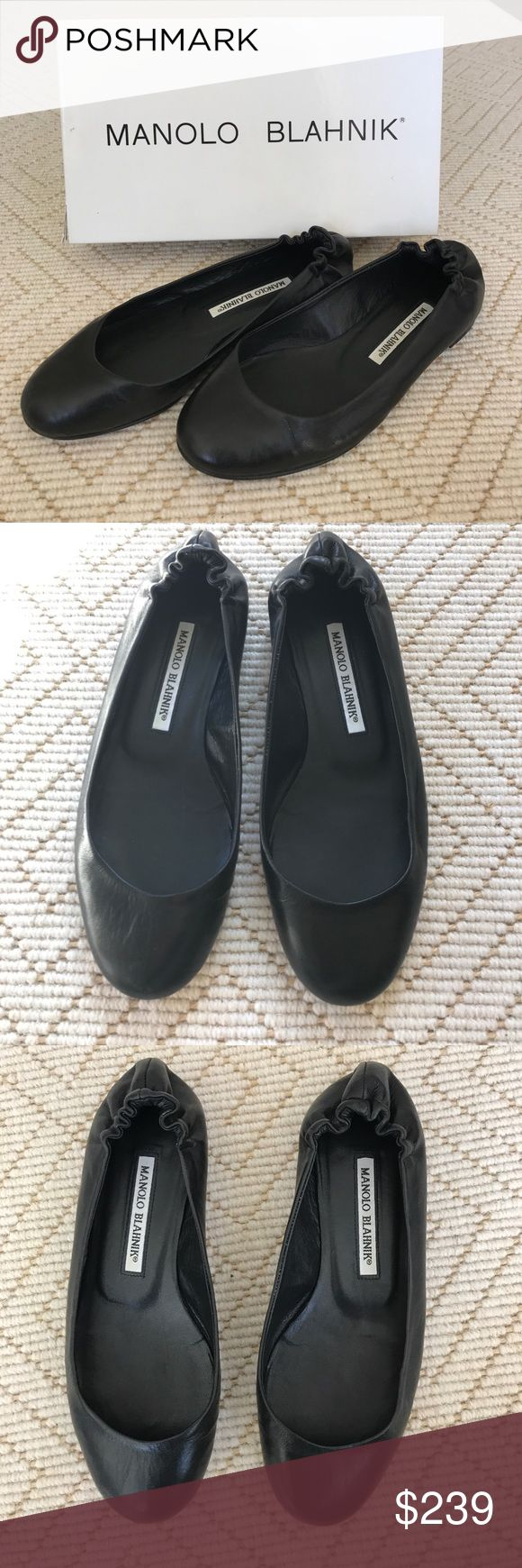 (Manolo Blahnik) Nappa Black Leather Ballet Flats (Manolo Blahnik) Selos Nappa Black Leather Flats with Elastic Back. In excellent used condition! Only sign of wear is on soles. Size 37. Manolo Blahnik Shoes Flats & Loafers