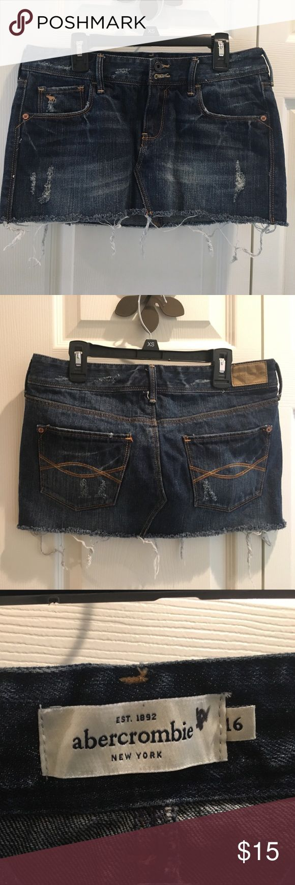 Girl's Abercrombie Distressed Jean Skirt Excellent, clean condition. Only work a few times. Distressed and frayed look. Abercombie Kids Bottoms Skirts