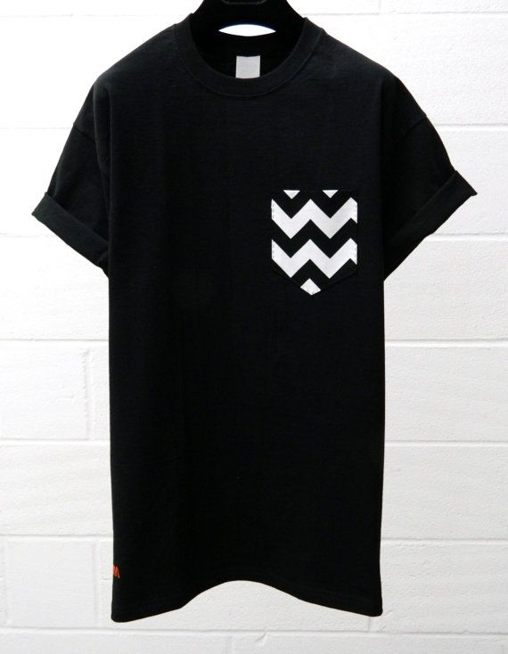 Men's White and Black Chevron Pattern Black by HeartLabelTees, £9.95