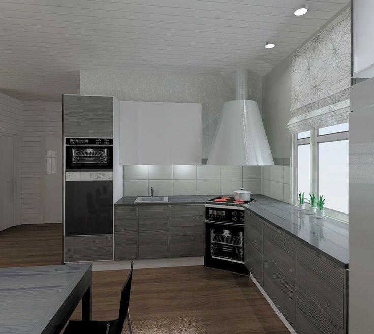 open kitchen plan in a modern Finnish wood house.