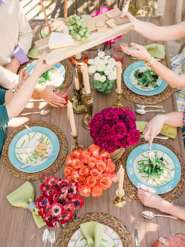 Step Inside HGTV's All-New Spring House (http://blog.hgtv.com/design/2014/04/01/step-into-hgtvs-spring-house/?soc=Pinterest): Hgtv Design, Kids Bedrooms, Bedrooms Color Palettes, Tables Sets, Girls Rooms Color, Outdoor Tables, Blog Design, Tables Arrangements, Design Blog