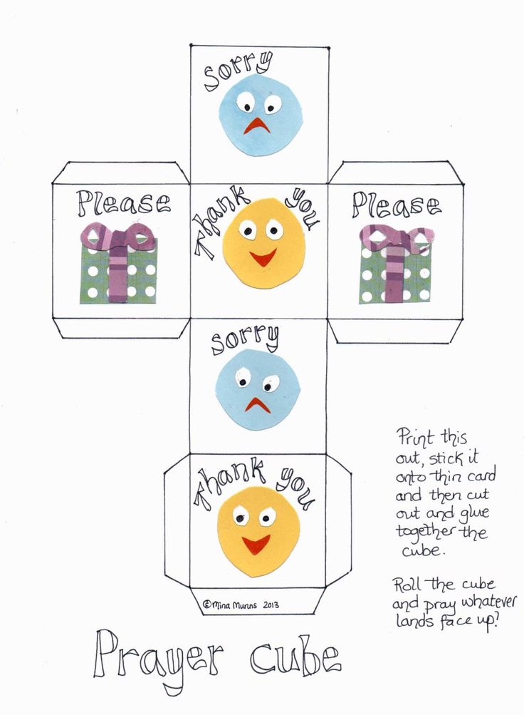 Prayer cube. Please, thank you, sorry. Roll the cube and whatever it lands on, that what they pray. Just a cute little idea for helping little ones know what to say.