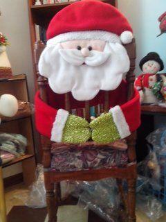 Papa noel abraza tus sillas del comedor en esta navidad - Adornos navidenos para sillas ...