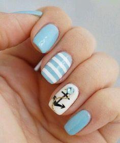 Light blue & White Nail Art