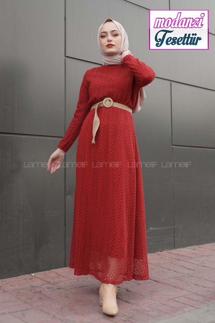 Lamelif Hasir Kemerli Astarli Elbise Kiremit Kirmizi Elbise 2020 Elbise Elbise Modelleri Moda Stilleri