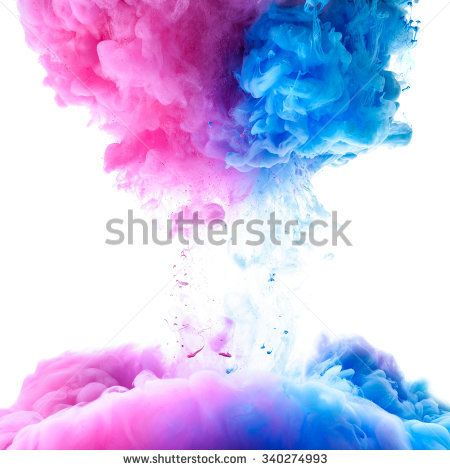 Pink and clue paint clouds in water, white background