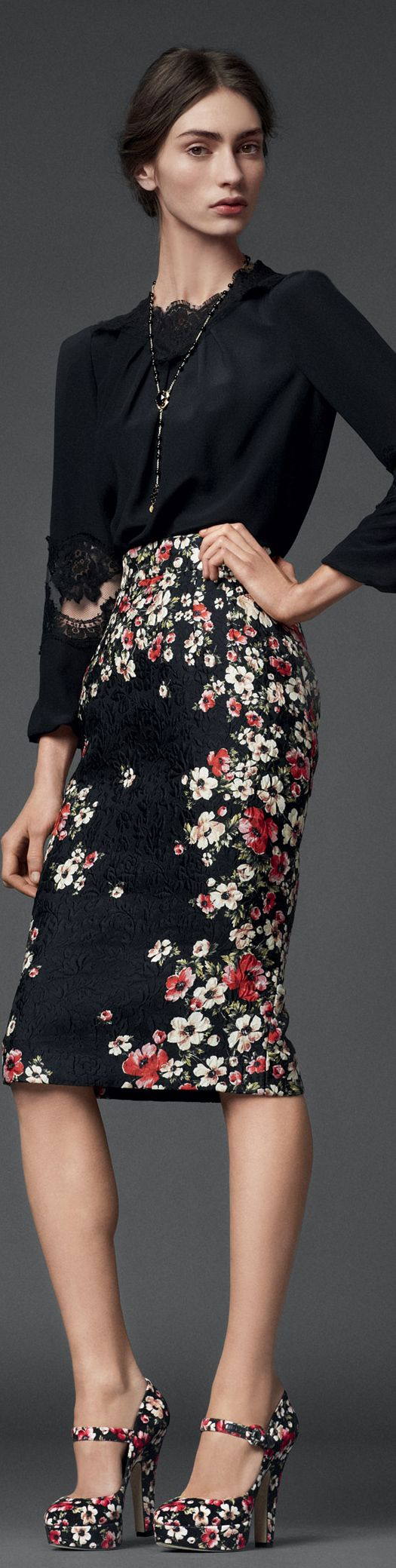 Dolce & Gabbana | Woman Collection 2014 ~ floral pencil skir\t & black lae detailed blouse