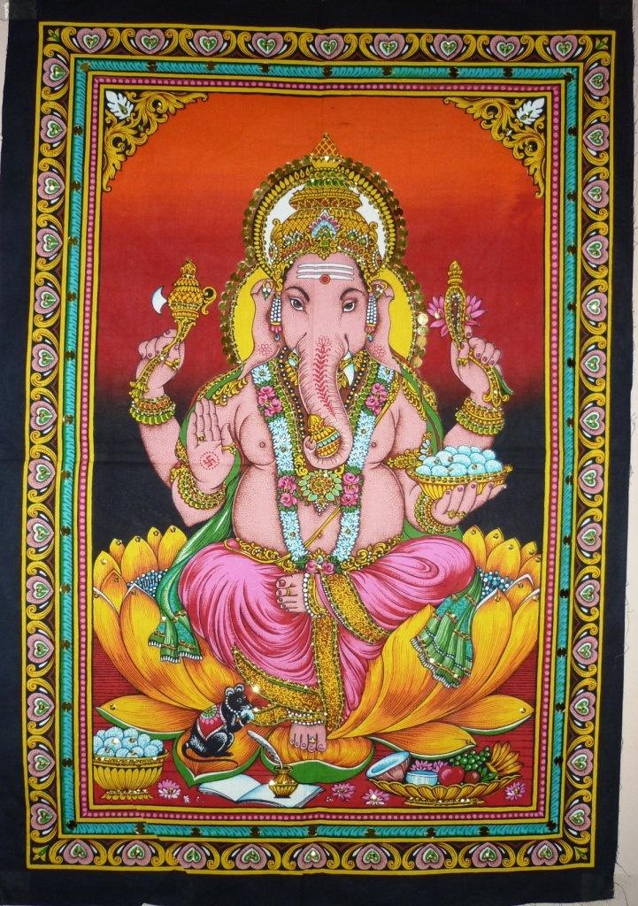 india batikkunst Hindoese God Ganesha katoen muur opknoping wandtapijten geschilderd pailletten huis tuin decor gooien kussen welvaart yoga. $9,52, via Etsy.
