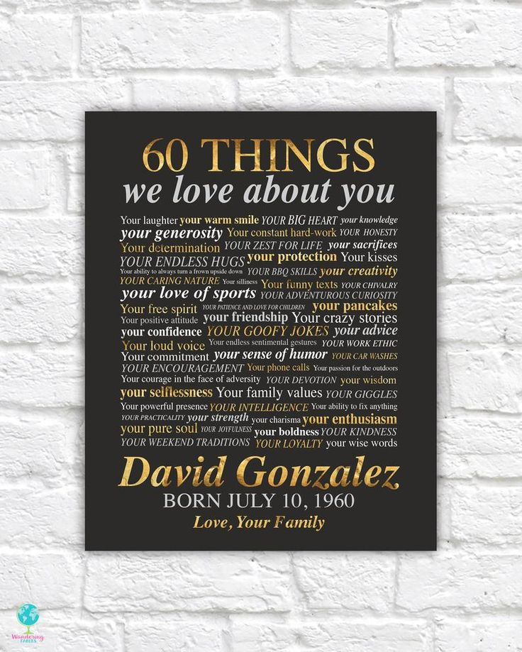 60th birthday gifts for men 60 things we love about you