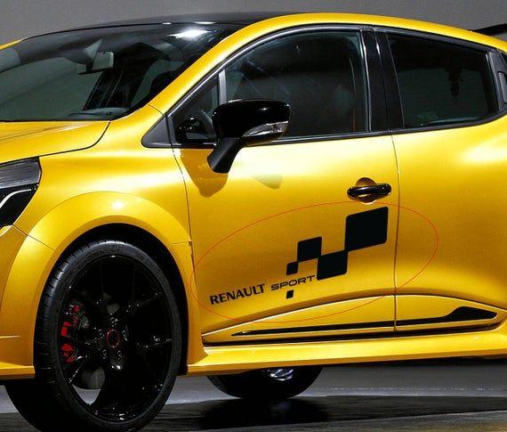 2 X For Renault Sport Car Side Door Vinyl Stickers Banner Jdm