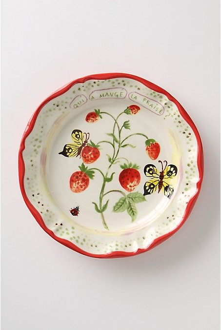 "De Vincennes Dinner Plate, Berries. Stoneware is painted with summer fruits and fluttery fauna a la francaise. An Anthropologie exclusive from Paris artist Nathalie Lete.  Stoneware.  Dishwasher and microwave safe.  10"" diameter.   #870148  $24.00 Red…"